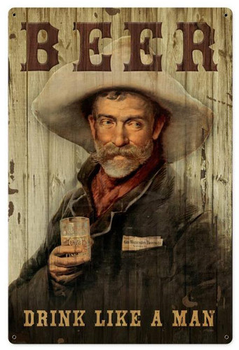 Cowboy Beer  Retro Metal Sign 24 x 36 Inches