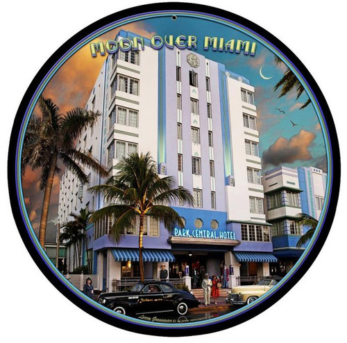 Moon Over Miami Round Metal Sign 14 x 14 Inches