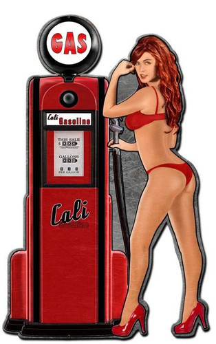 Cali Gas Pump Girl Custom Shape Metal Sign 24 x 15 Inches