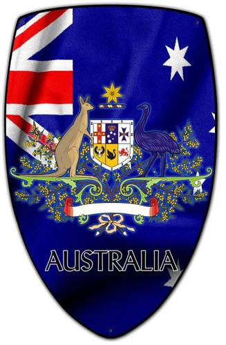 Australia Shield Custom Shape Metal Sign 15 x 24 Inches