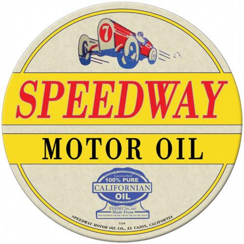 Vintage-Retro Speedway Oil Round Metal-Tin Sign