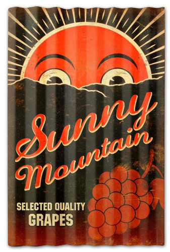 Sunny Mountain Grapes Corrugated Rustic Barn  Sign 16 x 24 Inches