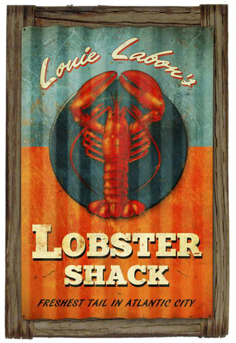 Lobster Shack  Corrugated Rustic Metal and  Barn Wood Sign 16 x 24 Inches