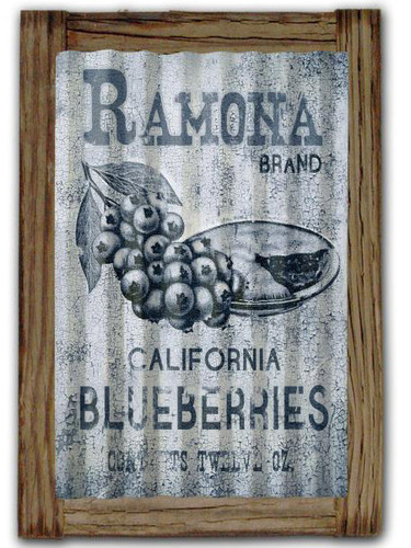 Ramona Blueberries  Corrugated Rustic Metal and  Barn Wood Sign 16 x 24 Inches