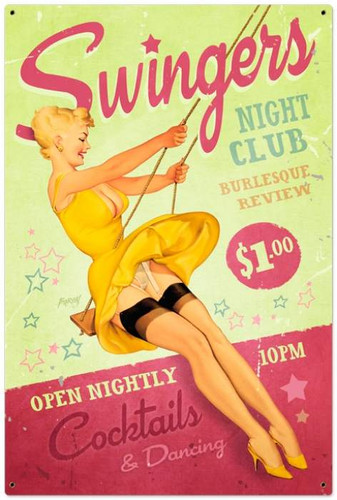 Vintage-Retro Swingers Club Metal-Tin Sign LARGE