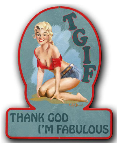 TGIF Pinup Girl Metal Sign 13 x 16 Inches