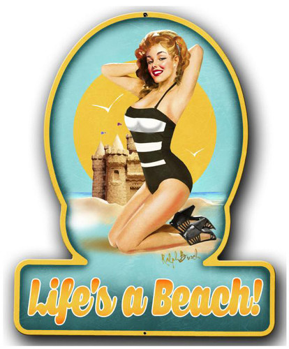 Lifes A Beach Pinup Girl Metal Sign 13 x 16 Inches