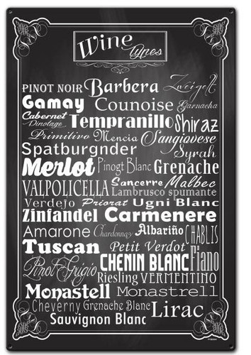 Wine Types Custom Shape Metal Sign 16 x 24 Inches