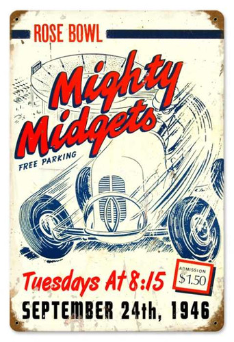 Vintage-Retro Mighty Midgets Metal-Tin Sign