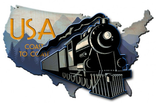 Coast to Coast Train USA Map 3D Metal Sign 24 x 16 Inches