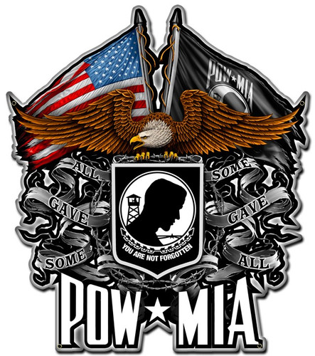 POW MIA Eagle Metal Sign 16 x 20 Inches