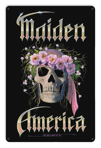 Maiden America Metal Sign 18 x 12 Inches