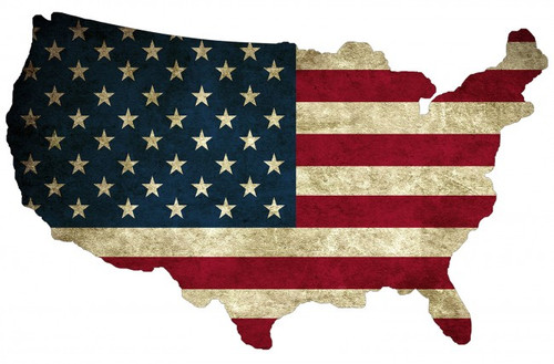 Usa Flag Map Plasma Shape Metal Sign 19 x 13 Inches