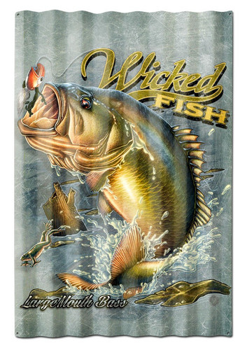 Large Mouth Bass Corrugated Metal Sign 16 x 24 Inches