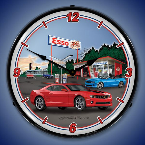 Camaro Esso Station Lighted Wall Clock 14 x 14 Inches