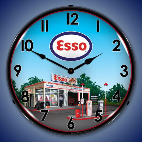 Esso Station Lighted Wall Clock 14 x 14 Inches