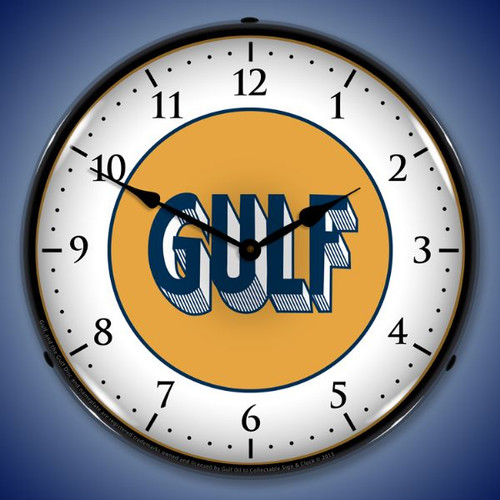 Gulf 1920 Lighted Wall Clock 14 x 14 Inches