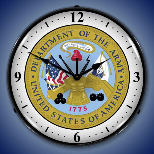 US Army Seal Lighted Wall Clock 14 x 14 Inches