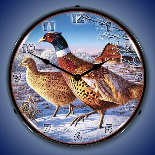 Frosty Morning Ringnecks Pheasants Lighted Wall Clock 14 x 14 Inches