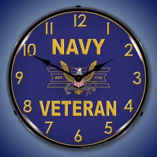 Navy Veteran Lighted Wall Clock 14 x 14 Inches