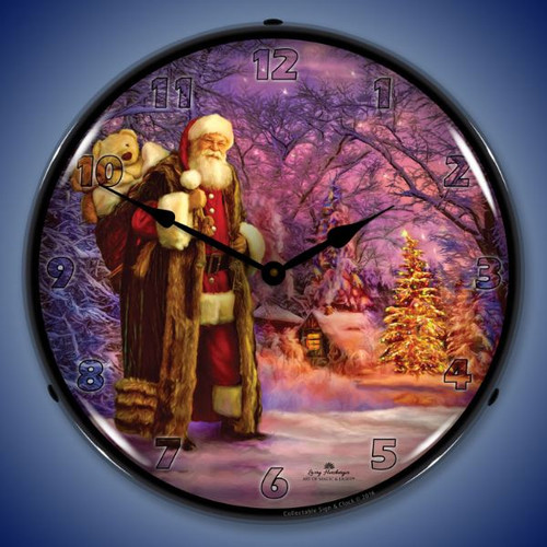 Saint Nick Lighted Wall Clock 14 x 14 Inches