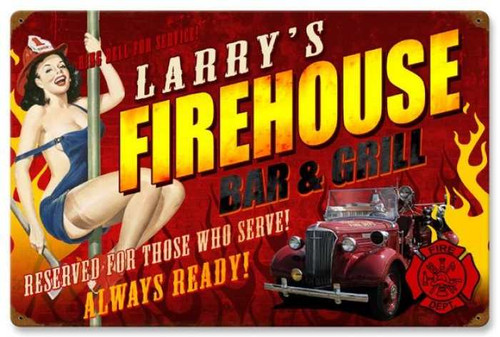 Retro Firehouse Grill  - Pin-Up Girl Metal Sign - Personalized 24 x 16 Inches