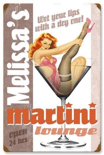 Vintage-Retro Martini Lounge Metal-Tin Sign - Personalized