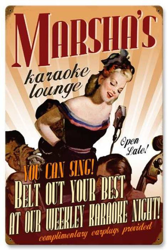 Vintage-Retro Karaoke Lounge Metal-Tin Sign - Personalized