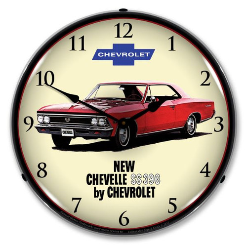 1966 Chevelle SS 396 Lighted Wall Clock 14 x 14 Inches