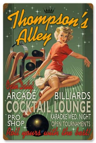 Vintage-Retro Bowling Alley - Pin-Up Girl Metal Sign -  - Personalized