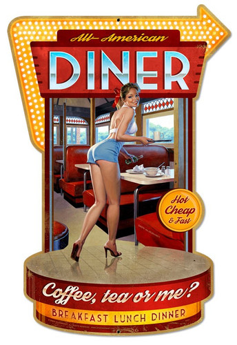 Diner Pinup Girl  Metal Sign 21 x 30 Inches