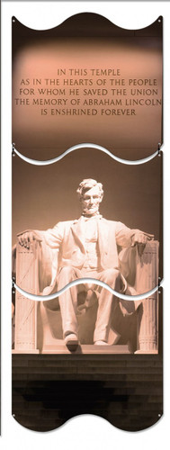 Lincoln Memorial Triptych Metal  Sign 12 x 36 Inches
