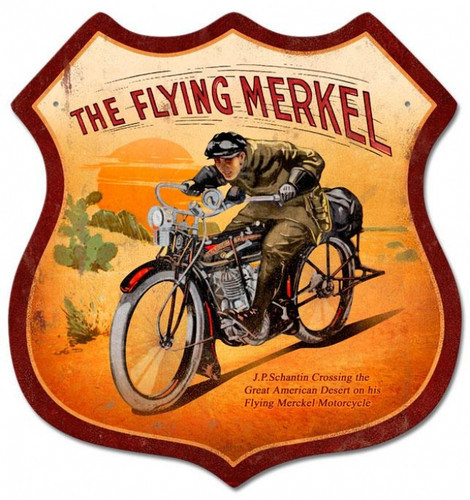 Vintage-Retro Flying Merkel Shield Metal-Tin Sign