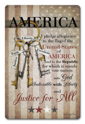 America Pledge Of Allegiance Metal Sign  12 x 18 Inches