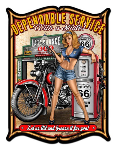 Dependable Service Pinup Girl Metal Sign 24 x 33 Inches