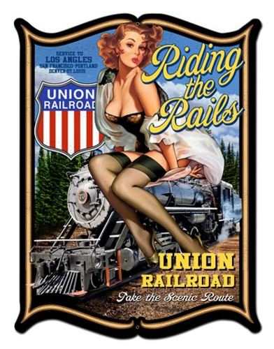 Riding The Rails Pinup Girl Metal Sign 24 x 33 Inches