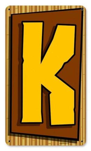 Vintage-Retro Tiki Letter K Metal-Tin Sign