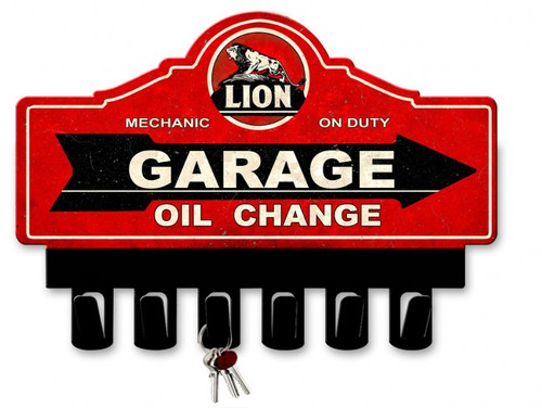 Lion Gasoline Metal Key Hanger 14 x 10 Inches