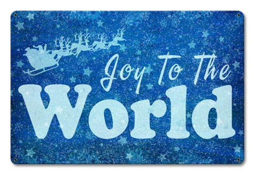 Joy To The World Metal Sign 18 x 12 Inches