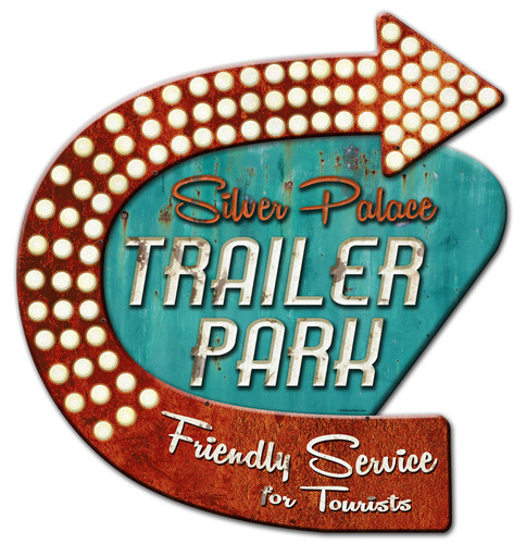 3-D Layered Silver Palace Trailer Park Metal Sign 24 x 24 Inches