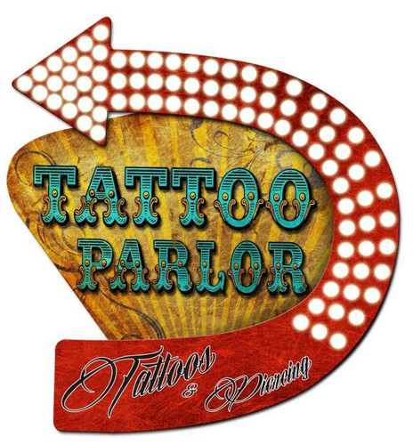 3-D Layered Tattoo Parlor Metal Sign 20 x 24 Inches