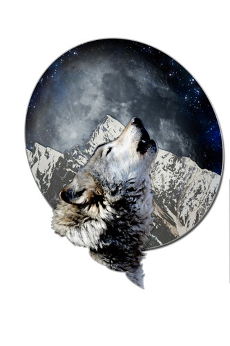 3-D Layered Wolf Moon Metal Sign 24 x 24 Inches