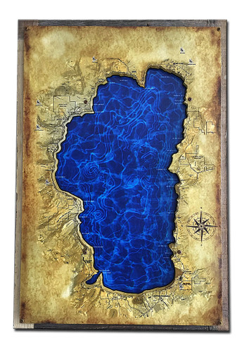 3-D Layered Lake Tahoe Map Metal Sign 16 x 24 Inches