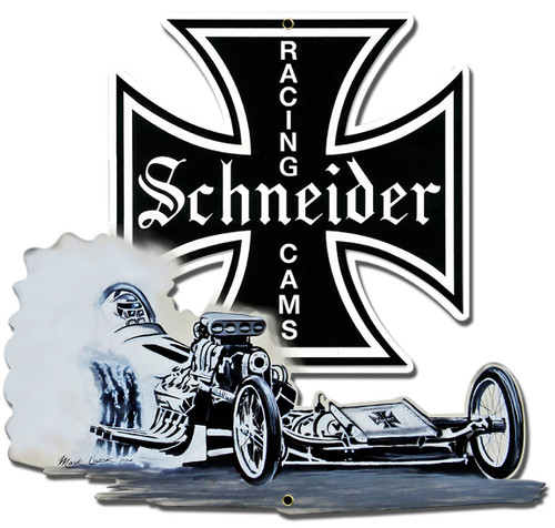 Schneider Racing Metal Sign 15 x 16 Inches