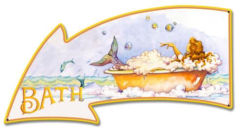Mermaid Bath Metal Sign 26 x 14 Inches