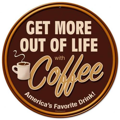 Vintage-Retro Get More Coffee Round Metal-Tin Sign
