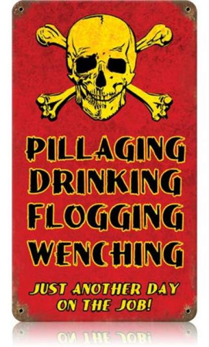 Personalized Street Signs >> Vintage Pillaging Drinking Pirates Metal Sign
