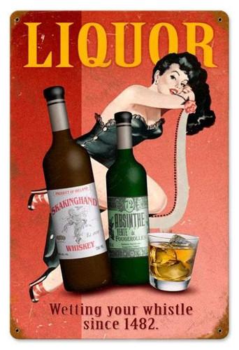 Vintage Liquor Pin Up Pin Up Girl Metal Sign