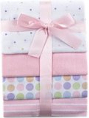 Pink Flannel Receiving Blankets - Set of 4