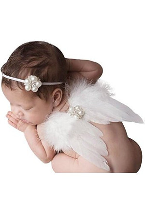 Pearl Headband with Angel Feather Wings